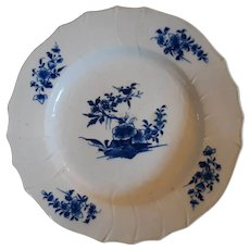 18th C Arras Blue and White Porcelain Plate