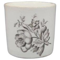 19th C Spode Floral Bat Print Porcelain Coffee Cup or Cann