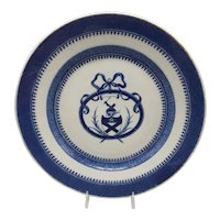 18th C. Chinese Export Blue & White Armorial Plate – Bruce