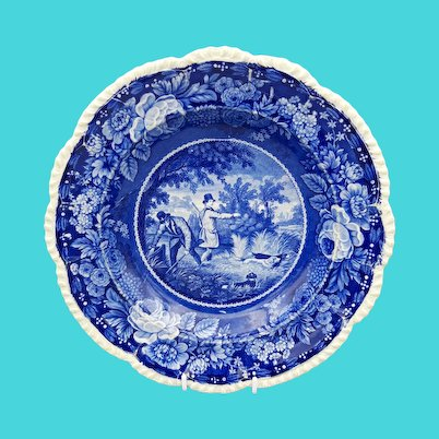 "19th C. Herculaneum Transferware Plate – ""Field Sports"""
