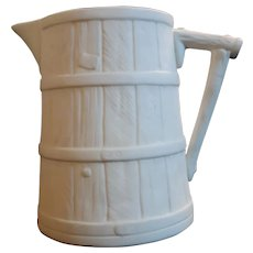 Small 19th C. Parian Barrel -Shaped Pitcher