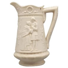 Small 19th C. Staffordshire Parian Pitcher with George Washington in Relief