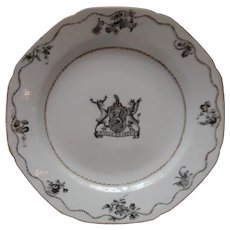 Rare Chinese Export En Grisaille & Gold Armorial Plate - Poole