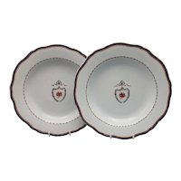 Pair of Large 18th C. Chinese Export American Market Pseudo-Armorial Plates
