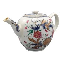 18th C. Famille Rose Chinese Export Pseudo Tobacco Leaf Teapot