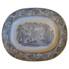 "Large 19th C. Staffordshire Transferware Platter – ""Rhine"" Pattern"