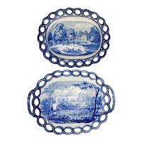 19th C. Staffordshire Transferware Basket & Undertray - Riley
