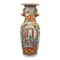19th Century Chinese Export Canton Rose Mandarin Vase