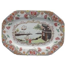 "19th C. Spode Ironstone Platter – ""Ship Pattern"" #3067"