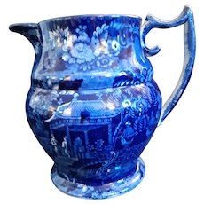 Large 19th C. Dark Blue Staffordshire Transferware Pitcher