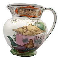 19th C. Wedgwood Queen's Ware Pitcher – Colorful Birds