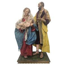 """Neapolitan Creche figure """"Holly Family"""""""