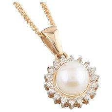 9ct Gold Cultured Pearl and Diamond Halo Pendant