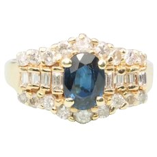 14ct Gold Sapphire and Diamond Cluster Ring