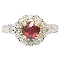 14ct Gold Ruby & Diamond Cluster Ring