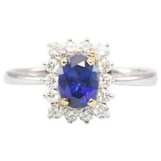 18ct Gold Oval Sapphire & Diamond Cluster Ring