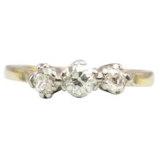 Antique 18ct Gold 3 Stone Old Cut Diamond Ring