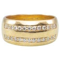 Vintage 18ct Gold Wide Diamond Set Band