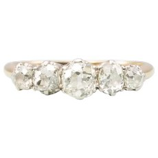 Vintage 18ct Gold 5 Stone 1.1 Carat Old Cut Diamond Ring