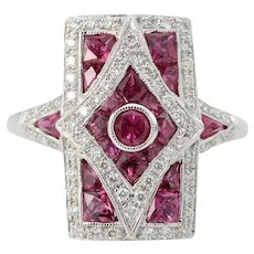 18ct Gold Ruby and Diamond Panel Ring