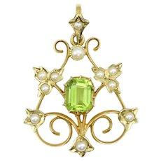 Antique Edwardian Belle Époque 15ct Gold Peridot & Pearl Pendant