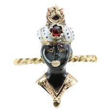 9ct Gold Garnet, Coral and Enamel Blackamoor Ring