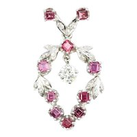 Gold Spinel & Diamond Belle Époque Style Pendant
