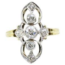 Antique Art Noveau 18ct Gold 3 Stone Diamond Ring