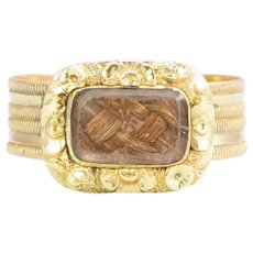 Antique Georgian 15ct Gold Mourning Ring with Hairwork Panel