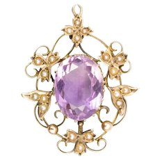 Antique Victorian 9ct Gold Amethyst & Seed Pearl Pendant