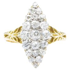 Edwardian 18ct Gold Old Cut Diamond Marquise Ring