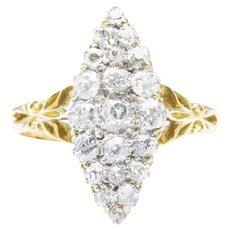 Edwardian 18ct Gold Old Cut Diamond Navette Ring