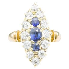 Edwardian 18ct Gold Old Cut Sapphire & Diamond Marquise Ring