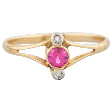 Art Deco 18ct Gold Synthetic Ruby and Diamond 3 Stone Ring