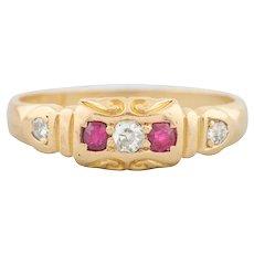 Victorian 18ct Gold Ruby & Diamond 5 Stone Ring