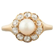 18ct Gold Natural Pearl and Old Cut Diamond Cluster Ring