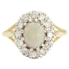 18ct Gold Opal and Diamond Cluster Ring, 1977