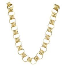 """9ct Gold Openwork Hoop Link 18"""" Chain Necklace, 30 grams"""