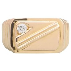 14ct Gold Cubic Zirconia Rectangle Signet Ring, 9.8 grams