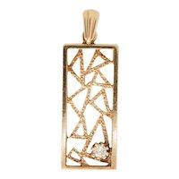 Vintage 9ct Gold Abstract Diamond Pendant