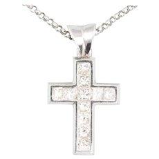18ct White Gold 1 Carat Diamond Cross and Chain