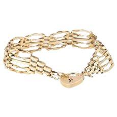"Vintage 9ct Rose Gold 8"" Fancy Gate Bracelet with Heart Padlock, 1920s / 30s"
