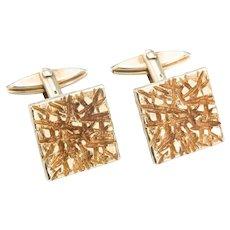 9ct Gold Bark Effect Cufflinks, 16 grams