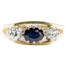 18ct Gold Sapphire & Diamond 3 Stone Ring