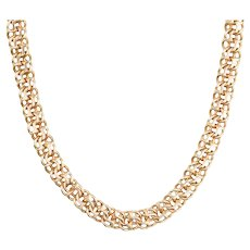 14ct Rose Gold Heavy Twin Flat Link Chain Necklace - 19 Grams