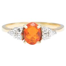 18ct Gold Fire Opal and Diamond Cluster Ring