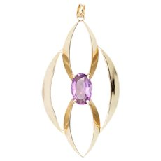 9ct Gold Large Elongated Ellipse Amethyst Pendant
