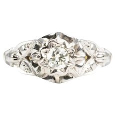 18ct Gold Vintage Style Diamond Solitaire Engagement Ring, Small Size