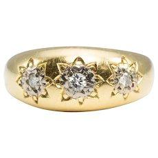18ct Gold 3 Stone Diamond Gypsy Ring