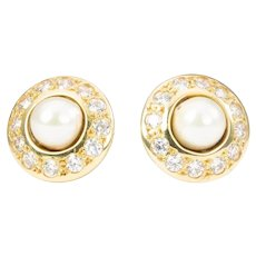18ct Gold Pearl and Cubic Zirconia Cluster Stud Earrings